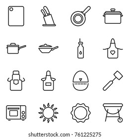 Thin line icon set : cutting board, stands for knives, pan, saute, vegetable oil, apron, egg timer, meat hammer, grill oven, gas, induction, bbq
