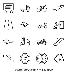 thin line icon set : delivery, bike, stairs, road, plane, scooter shipping, courier, sail boat, motorcycle, escalator, barometer, watch, horse