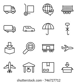 thin line icon set : delivery, cargo stoller, truck shipping, car, dry, do not hook sign, package, search, railroad, plane, airplane, warehouse