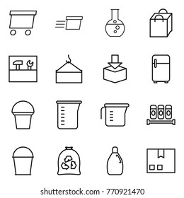 Thin line icon set : delivery, round flask, shopping bag, tools, loading crane, package, fridge, bucket, measuring cup, spices, garbage, cleanser