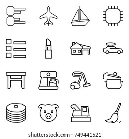 thin line icon set : diagram, plane, boat, chip, list, lipstick, house with garage, car baggage, stool, coffee maker, vacuum cleaner, steam pan, pancakes, pig, harvester, broom