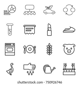 thin line icon set : diagram, structure, eco car, quantum bond, vial, atm receipt, lipstick, jet ski, oven, fork spoon plate, spikelets, pig, goose, sow, watering can, skysrcapers cleaning
