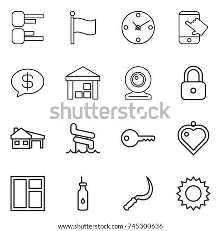 Thin Line Icon Set Diagram Flag Stock Vector (Royalty Free