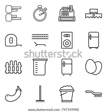 thin line icon set : diagram, stopwatch, cashbox, block wall, measuring tape