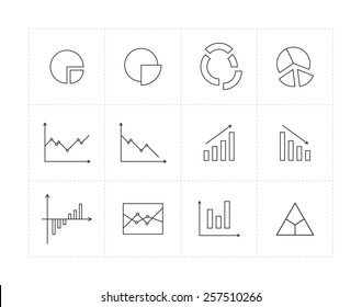 Thin line icon set with different diagrams