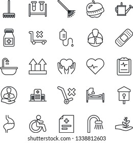 Thin Line Icon Set - disabled vector, rake, watering can, bird house, heart pulse, diagnosis, blood test vial, dropper, pills bottle, patch, hospital bed, hand, stomach, clipboard, diet, client