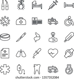 Thin Line Icon Set - disabled vector, heart pulse, doctor case, diagnosis, syringe, dropper, thermometer, pills, ampoule, scalpel, ambulance star, car, hospital bed, stomach, lungs, caries, joint
