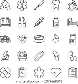 Thin Line Icon Set - disabled vector, heart pulse, syringe, blood test vial, dropper, microscope, pills, bottle, ampoule, scalpel, patch, tomography, ambulance star, car, hospital bed, stomach