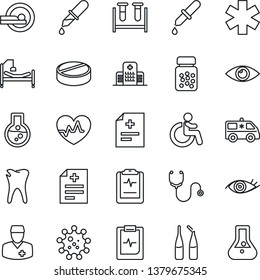 Thin Line Icon Set - disabled vector, heart pulse, diagnosis, stethoscope, blood test vial, dropper, pills, bottle, ampoule, tomography, ambulance star, car, hospital bed, caries, eye, clipboard