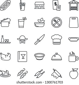 Thin Line Icon Set - dish vector, alcohol, cafe, cook hat, wine card, phyto bar, coffee, salad, building, dress code, alcove, restaurant receipt, chicken, kebab, hot dog, bowl, rolling pin, knife