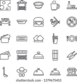 Thin Line Icon Set - dish vector, alcohol, cafe, reserved, reception, drink, phyto bar, coffee, vip zone, dress code, alcove, credit card, kebab, hamburger, ladle, bowl, steaming pan, sushi, cheese