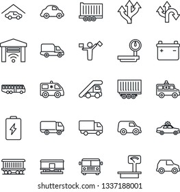 Thin Line Icon Set - dispatcher vector, airport bus, alarm car, ladder, ambulance, route, railroad, truck trailer, delivery, heavy scales, garage, gate control, battery