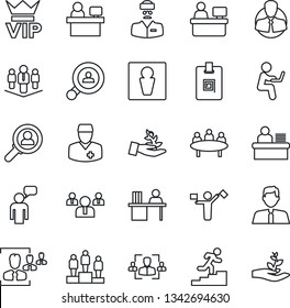 Thin Line Icon Set - dispatcher vector, male, vip, speaking man, pedestal, team, meeting, manager place, doctor, client, identity card, hr, desk, career ladder, company, search, estate agent