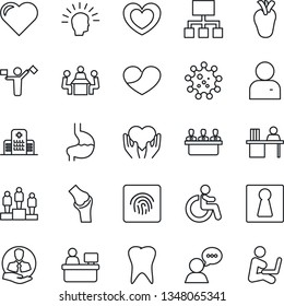 Thin Line Icon Set - dispatcher vector, female, disabled, pedestal, manager place, heart, hand, stomach, real, tooth, joint, hospital, virus, client, speaker, user, fingerprint id, desk, meeting
