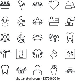 Thin Line Icon Set - dispatcher vector, female, team, meeting, manager place, heart, disabled, hand, stomach, real, tooth, joint, speaker, group, user, fingerprint id, company, shining head