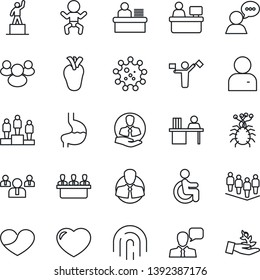 Thin Line Icon Set - dispatcher vector, baby, pedestal, team, manager place, disabled, stomach, real heart, virus, client, speaker, group, user, fingerprint id, desk, meeting, palm sproute