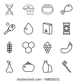 Thin line icon set : dna, factory filter, smart bracelet, chicken leg, tennis, drop, cereals, pasta, spikelets, honeycombs, grape, eggplant, pear, tomato, shampoo, tooth brush
