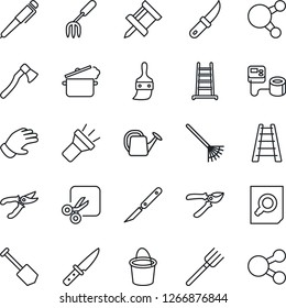 Thin Line Icon Set - document search vector, job, garden fork, farm, rake, ladder, watering can, bucket, pruner, glove, knife, axe, blood pressure, scalpel, share, themes, torch, cut, drawing pin