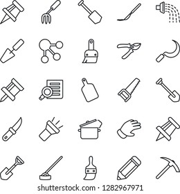 Thin Line Icon Set - document search vector, drawing pin, job, pencil, trowel, garden fork, shovel, watering, pruner, glove, saw, hoe, sickle, knife, scalpel, themes, torch, cutting board, hard work