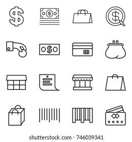 thin line icon set : dollar, money, shopping bag, arrow, hand coin, credit card, purse, market, list, bar code