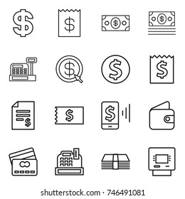 thin line icon set : dollar, receipt, money, cashbox, arrow, coin, account balance, mobile pay, wallet, credit card, atm