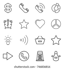 thin line icon set : dollar, phone, call, circle diagram, alarm clock, star, heart, bulb, wireless, remove from basket, right arrow, grater, apron