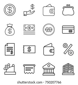 thin line icon set : dollar, investment, wallet, purse, money bag, crypto currency, credit card, account balance, receipt, percent, cashbox, atm, library, office