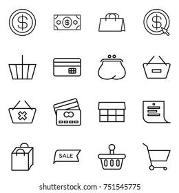 thin line icon set : dollar, money, shopping bag, arrow, basket, credit card, purse, remove from, delete cart, market, list, sale