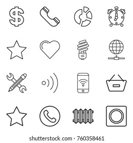 Thin line icon set : dollar, phone, circle diagram, alarm clock, star, heart, bulb, globe connect, pencil wrench, wireless, remove from basket, radiator, ring button