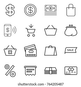 Thin line icon set : dollar, money, shopping bag, phone pay, add to cart, basket, purse, delete, credit card, sale, percent, atm receipt