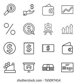Thin line icon set : dollar magnifier, investment, wallet, statistics, percent, arrow, presentation, graph up, coin, receipt, cashbox, money, invoice