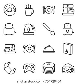 thin line icon set : donut, hot drink, cafe, coffee maker, toaster, kettle, big spoon, fork plate, meal cap, cereals, croissant, pretzel, pancakes, cheese