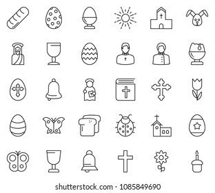 thin line icon set - egg stand vector, sun, rabbit, holy bible, crucifixion, easter, bread, lady bug, butterfly, cup, bell, church, jesus, The God, priest, flower, cake