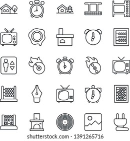 Thin Line Icon Set - elevator vector, alarm clock, tv, abacus, stamp, fireplace, film frame, vinyl, flame disk, gallery, ink pen, house with tree, power plug