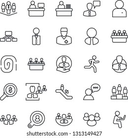 Thin Line Icon Set - escalator vector, speaking man, pedestal, meeting, manager place, run, doctor, client, speaker, group, user, company, hr, desk, search, estate agent, waiter, fingerprint, money