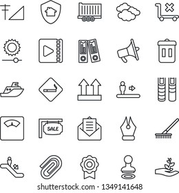 Thin Line Icon Set - escalator vector, smoking place, stamp, clouds, office binder, rake, scales, sea shipping, truck trailer, up side sign, no trolley, loudspeaker, mail, brightness, video, ink pen