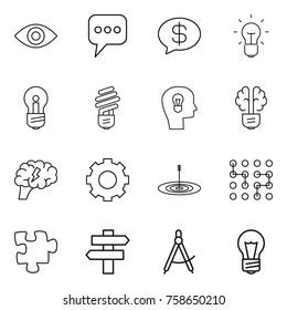 Thin line icon set : eye, message, money, bulb, head, brain, gear, target, chip, puzzle, singlepost, draw compass