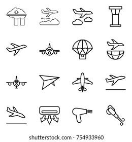 thin line icon set : factory filter, weather management, journey, airport tower, plane, parachute delivery, shipping, deltaplane, airplane, departure, arrival, air conditioning, hair dryer, blower