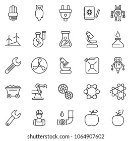 thin line icon set - fan vector, mine trolley, flask, windmill, oil pipeline, power plug, gear, workman, canister, bulb, wrench, microscope, owl, logbook, molecule, spirit lamp, robot, manufacture