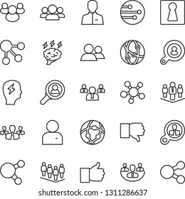 Thin Line Icon Set - female vector, team, brainstorm, network, share, group, finger up, down, user, company, client search, consumer, social media