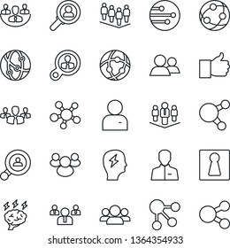 Thin Line Icon Set - female vector, team, brainstorm, network, share, group, finger up, user, company, client search, consumer, social media