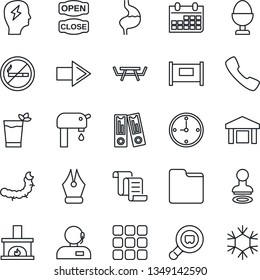 Thin Line Icon Set - fence vector, no smoking, stamp, right arrow, contract, office binder, brainstorm, calendar, caterpillar, picnic table, stomach, warehouse, search cargo, call, menu, folder