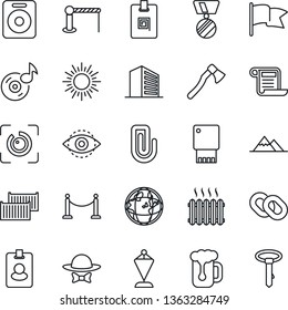 Thin Line Icon Set - fence vector, barrier, sun, office building, pennant, medal, axe, cargo container, chain, speaker, eye id, music, paper clip, identity card, mountains, heater, beer, dress code
