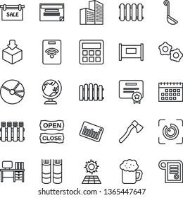Thin Line Icon Set - fence vector, globe, gear, book, desk, axe, package, barcode, calculator, eye id, calendar, office building, pie graph, sun panel, sale, beer, open close, ladle, radiator