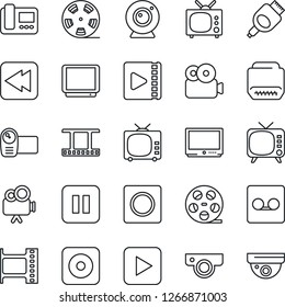 Thin Line Icon Set - film frame vector, reel, tv, video camera, play button, pause, rewind, rec, hdmi, record, web, intercome, surveillance