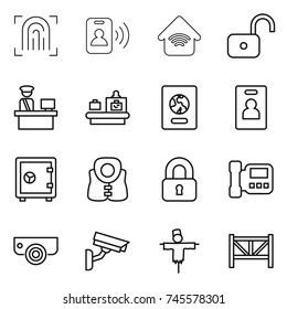 thin line icon set : fingerprint, pass card, wireless home, unlock, customs control, baggage checking, passport, identity, safe, life vest, locked, intercome, surveillance camera, scarecrow