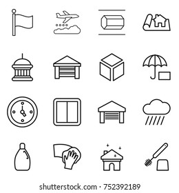 thin line icon set : flag, weather management, nano tube, project, goverment house, garage, 3d, insurance, watch, power switch, rain cloud, cleanser, wiping, cleaning, toilet brush