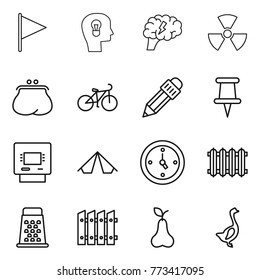 Thin line icon set : flag, bulb head, brain, nuclear, purse, bike, pencil, pin, atm, tent, watch, radiator, grater, fence, pear, goose