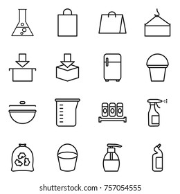 Thin line icon set : flask, shopping bag, loading crane, package, fridge, bucket, cauldron, measuring cup, spices, sprayer, garbage, liquid soap, toilet cleanser