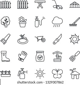 Thin Line Icon Set - flower in pot vector, garden fork, fence, rake, tree, wheelbarrow, glove, boot, saw, lawn mower, butterfly, seedling, sun, rain, well, knife, greenhouse, pond, picnic table